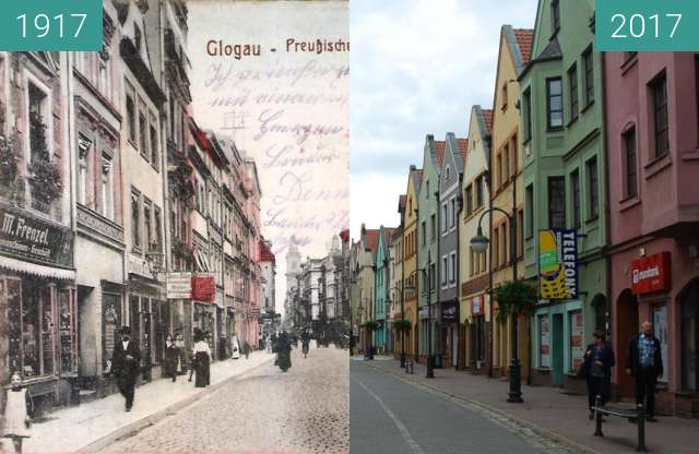 Before-and-after picture of Grodzka street / Preussischestr. between 1917 and 2017