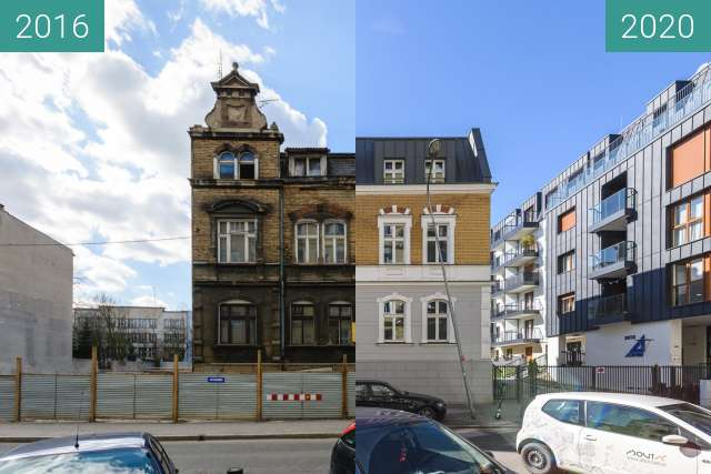 Before-and-after picture of Ulica Różana between 2016-Mar-26 and 2020-Mar-14