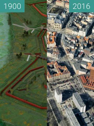 Before-and-after picture of Bastion Colomb between 1900-Sep-28 and 2016-Sep-28