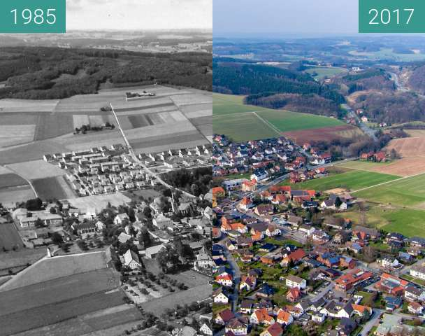 Before-and-after picture of Hilter am Teutoburger Wald between 1985 and 2017-Mar-13