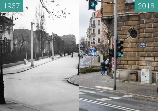 Before-and-after picture of Ulica Matejki between 1937 and 2018