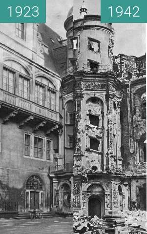 Before-and-after picture of Bombed Dresden (Not exact position) between 1923 and 1942