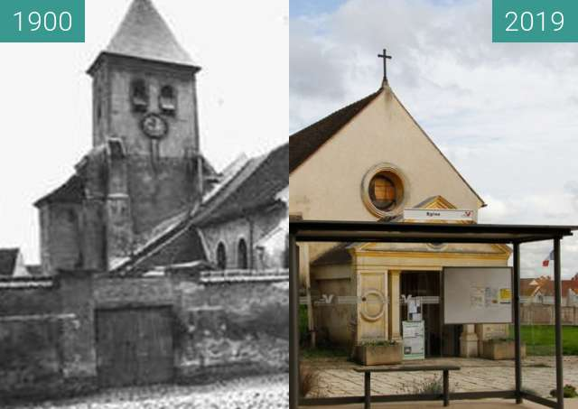 Before-and-after picture of Eglise Baillet-En-France between 1900 and 2019-Oct-19