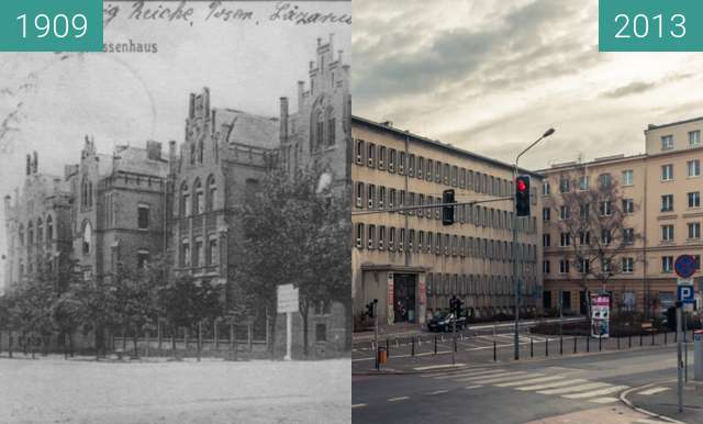Before-and-after picture of Szpital Diakonisek, Libelta/Kościuszki between 1909 and 2013