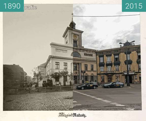 Before-and-after picture of Old city hall in Lodz, Poland between 1890 and 2015