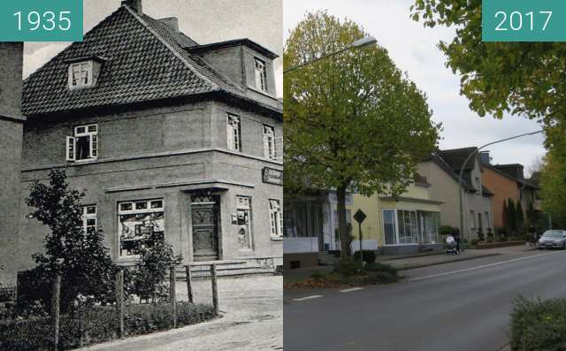 Before-and-after picture of Kolonialwarenladen Frommeyer between 1935 and 2017-Oct-12