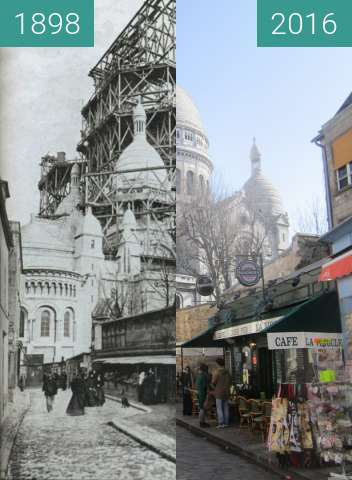 Before-and-after picture of Sacré-Cœur between 1898 and 2016-Mar-13
