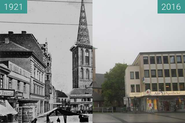 Before-and-after picture of Propsteikirche St. Peter und Paul between 1921 and 2016-Oct-25
