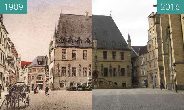 Before-and-after picture of Osnabrücker Rathaus between 1909 and 2016-Feb-07