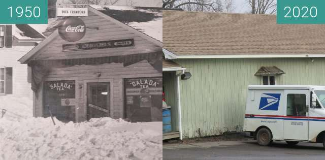 Before-and-after picture of Dick Crawford's Store Belfast, Maine between 1950 and 2020