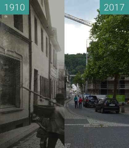 Before-and-after picture of Andernach Merowingerplatz between 1910 and 2017-Jun-04