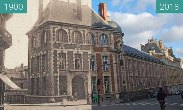 Before-and-after picture of Vvue de l'Institut Agronomique à Paris between 1900 and 2018-Feb-04