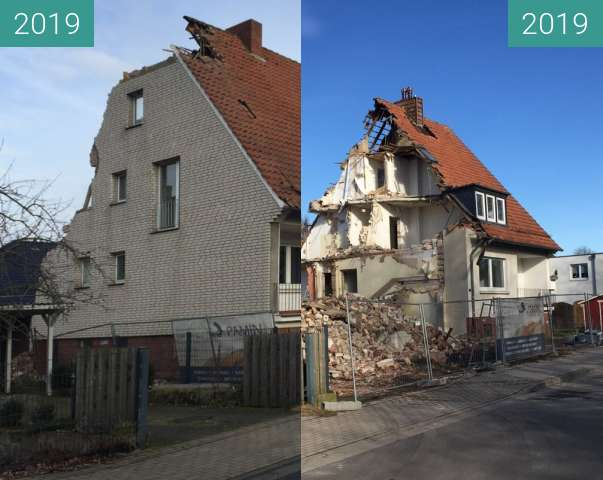 Before-and-after picture of Hausabbruch between 2019-Feb-12 and 2019-Feb-14