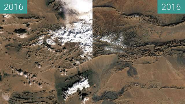 Before-and-after picture of Rare snow falls at the edge of the Sahara Desert between 2016-Dec-19 and 2016-Dec-27