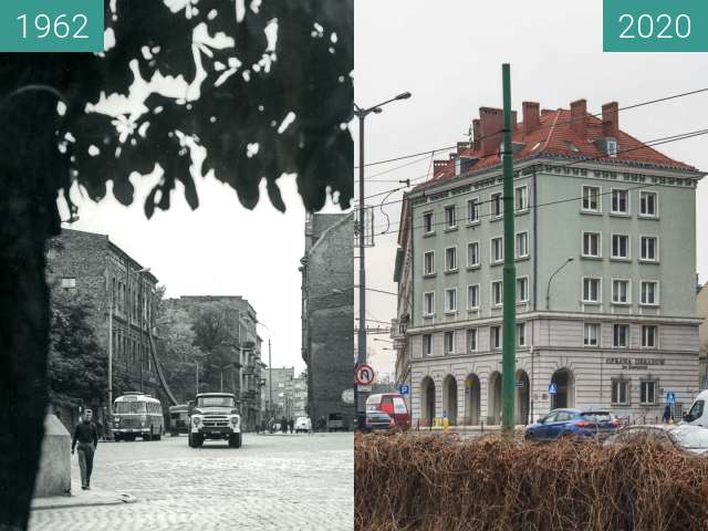 Before-and-after picture of Ulica Wolnica between 1964 and 2020-Dec-15
