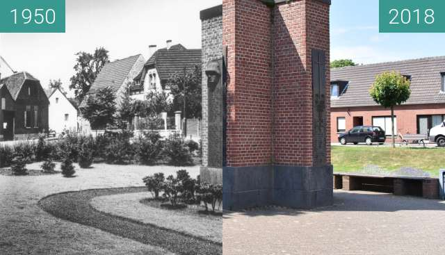 Before-and-after picture of Kriegerehrenmal in Kempen St. Hubert between 1950 and 2018-Jun-15