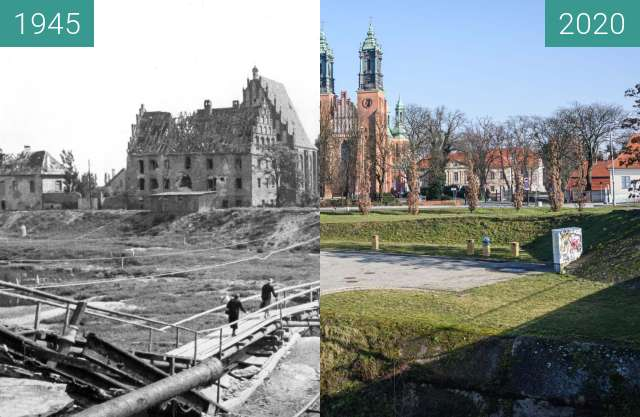 Before-and-after picture of Most Chrobrego between 1945 and 2020