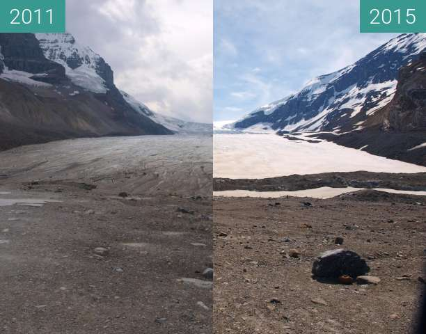 Before-and-after picture of Athabasca Glacier between 2011-Sep-15 and 2015-Jun-01