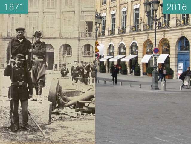 Before-and-after picture of Place Vendôme (Paris Commune) between 1871-May-16 and 2016-Feb-27