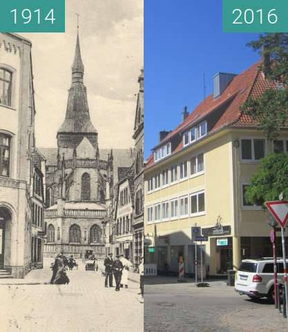 Before-and-after picture of Market, St. Marien between 1914 and 2016-Aug-31