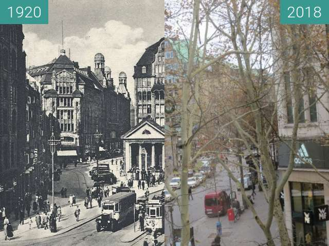 Before-and-after picture of Mönckebergstraße in Hamburg between 1920 and 2018-Nov-19