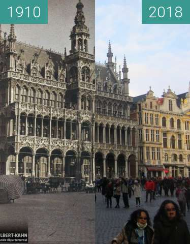 Before-and-after picture of Maison du Roi/Broodhuis between 1910 and 2018-Apr-01
