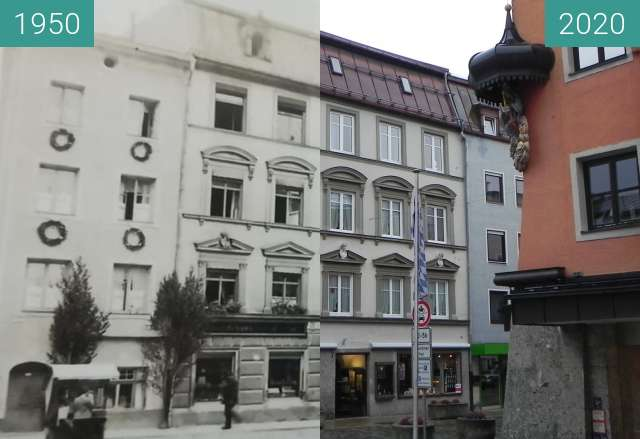 Before-and-after picture of Schaumburger Str. 1, Traunstein between 1950 and 11/2020