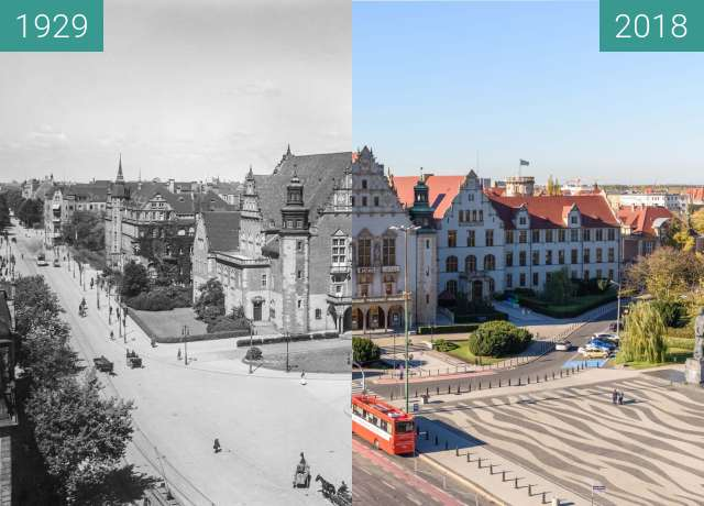 Before-and-after picture of Ulice Św. Marcin / Wieniawskiego between 1929 and 2018