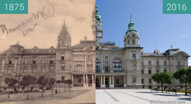 Before-and-after picture of győr városháza between 1875 and 2016