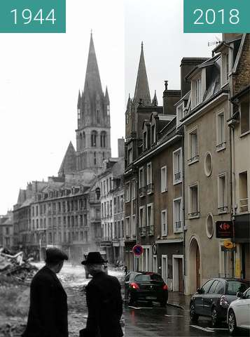 Before-and-after picture of Caen 1944 - Normandy between 1944 and 2018-May-02