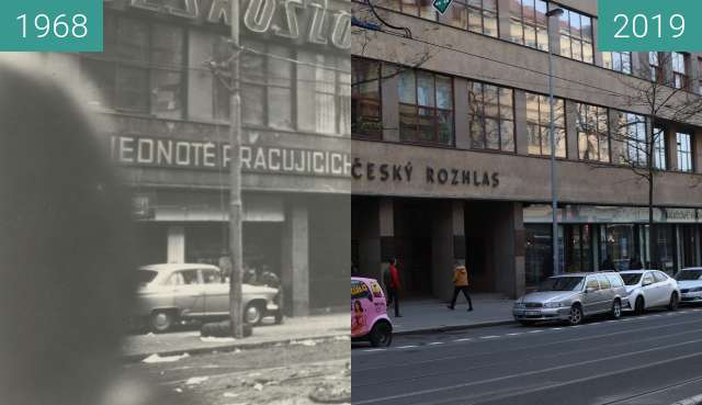 Before-and-after picture of Československý rozhlas between 1968-Aug-21 and 2019-Dec-18