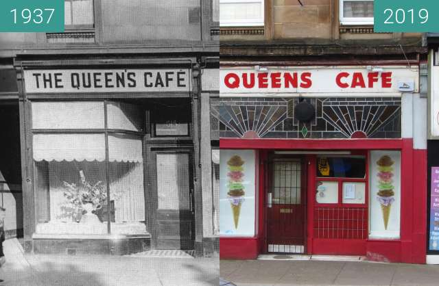 Before-and-after picture of Queen's Cafe between 1937 and 2019-Mar-24
