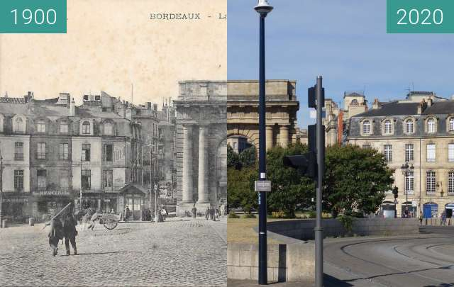 Before-and-after picture of Porte de Bourgogne between 1900 and 07/2020