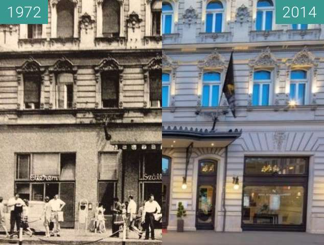 Before-and-after picture of Hotel Nemzeti Budapest between 1972 and 2014