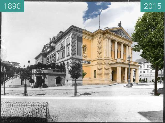 Before-and-after picture of Oper Halle between 1890 and 2015