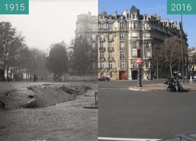 Before-and-after picture of Place de l'Alma between 1915-Nov-08 and 2016-Mar-13