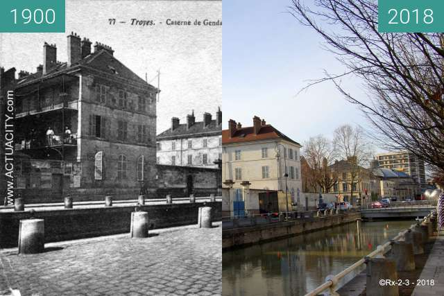 Before-and-after picture of TROYES - Quai de DAMPIERRE between 1900 and 2018-Feb-16