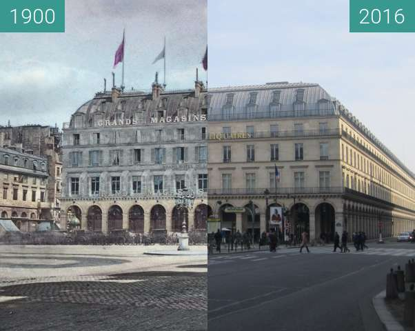 Before-and-after picture of Grands Magasins du Louvre between 1900 and 2016-Feb-27
