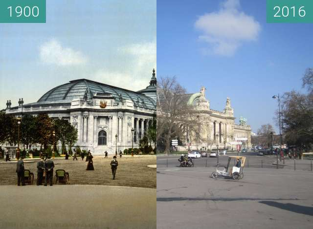 Before-and-after picture of Grand Palais between 1900 and 2016-Mar-13