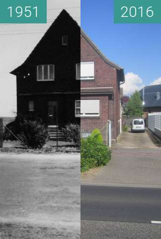 Before-and-after picture of Haus Lamersdorf between 1951-Mar-24 and 2016-Jul-14