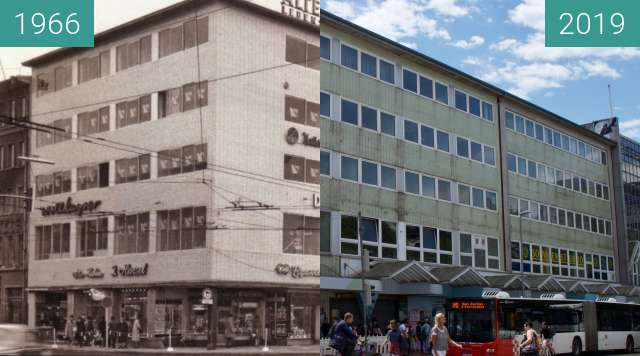 Before-and-after picture of Kachelhaus between 1966 and 2019-May-28