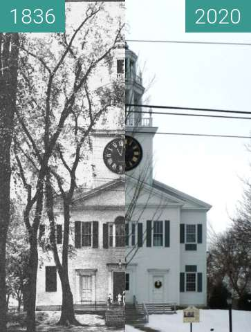 Before-and-after picture of The First Church; Belfast Maine between 1836 and 01/2020