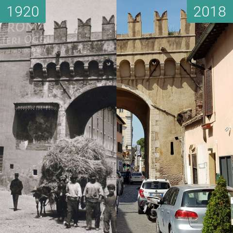 Before-and-after picture of Porta Settimiana 1920 and today between 1920 and 2018-Apr-08
