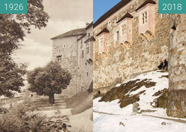 Before-and-after picture of Ljubljana Castle 1926 between 1926 and 2018-Feb-14