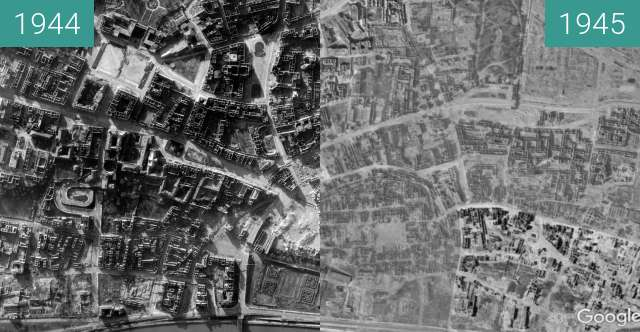 Before-and-after picture of Destroyed Warsaw between 10/1944 and 1945-Jan-01
