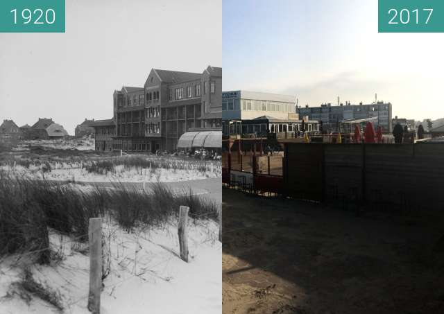 Before-and-after picture of Hotel Nassau in Bergen aan Zee between 1920 and 2017