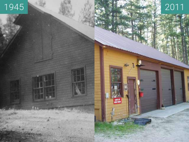 Before-and-after picture of Nemo Ranger Station, equipment shed, 1945 between 1945-Sep-07 and 2011-Jul-15