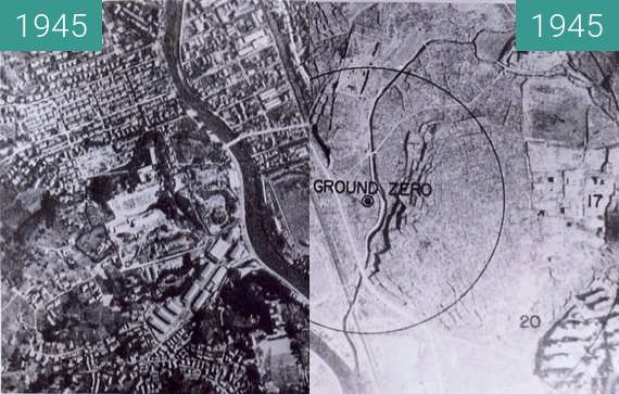 Before-and-after picture of Atomic bombing of Nagasaki during World War II between 1945-Aug-09 and 1945-Aug-09