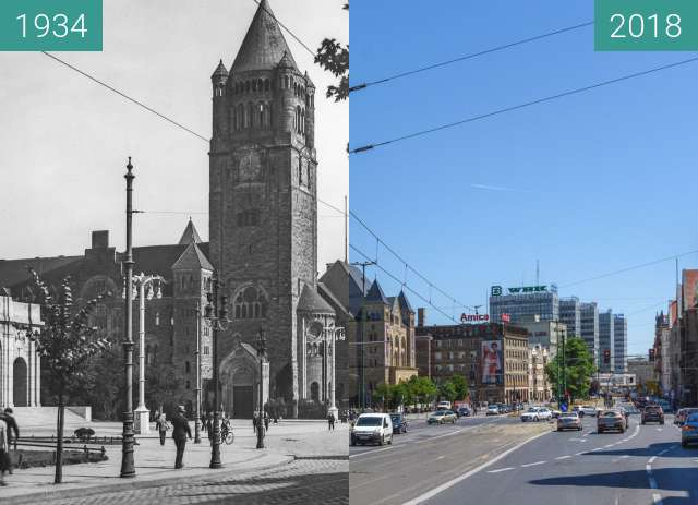 Before-and-after picture of Ulica Św. Marcin, Zamek Cesarski between 1934 and 2018
