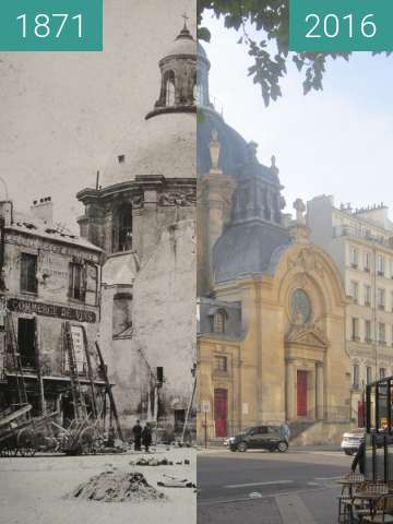 Before-and-after picture of Temple du Marais (Paris Commune) between 05/1871 and 2016-Nov-01